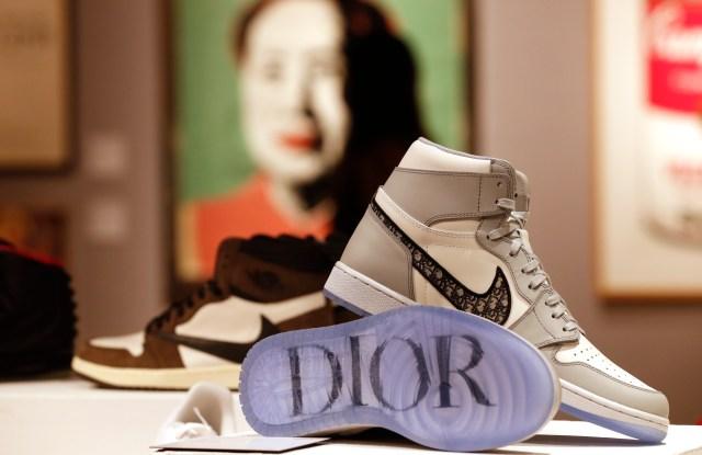 A pair of Dior X Nike Air Jordan 1 High OG 2020 sneakers at Bonhams auction house in London.