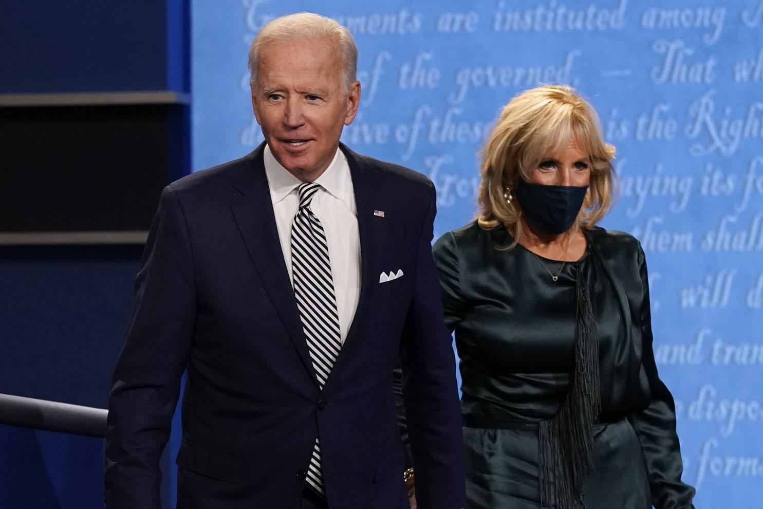 Former Vice President Joe Biden and his wife Jill Biden during the first presidential debate Tuesday, Sept. 29, 2020.