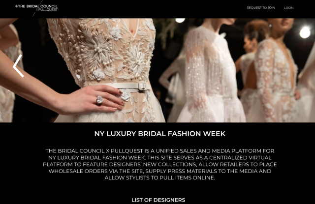 A Preview of the Bridal Council's x PullQuest's Bridal Fashion Week landing page.