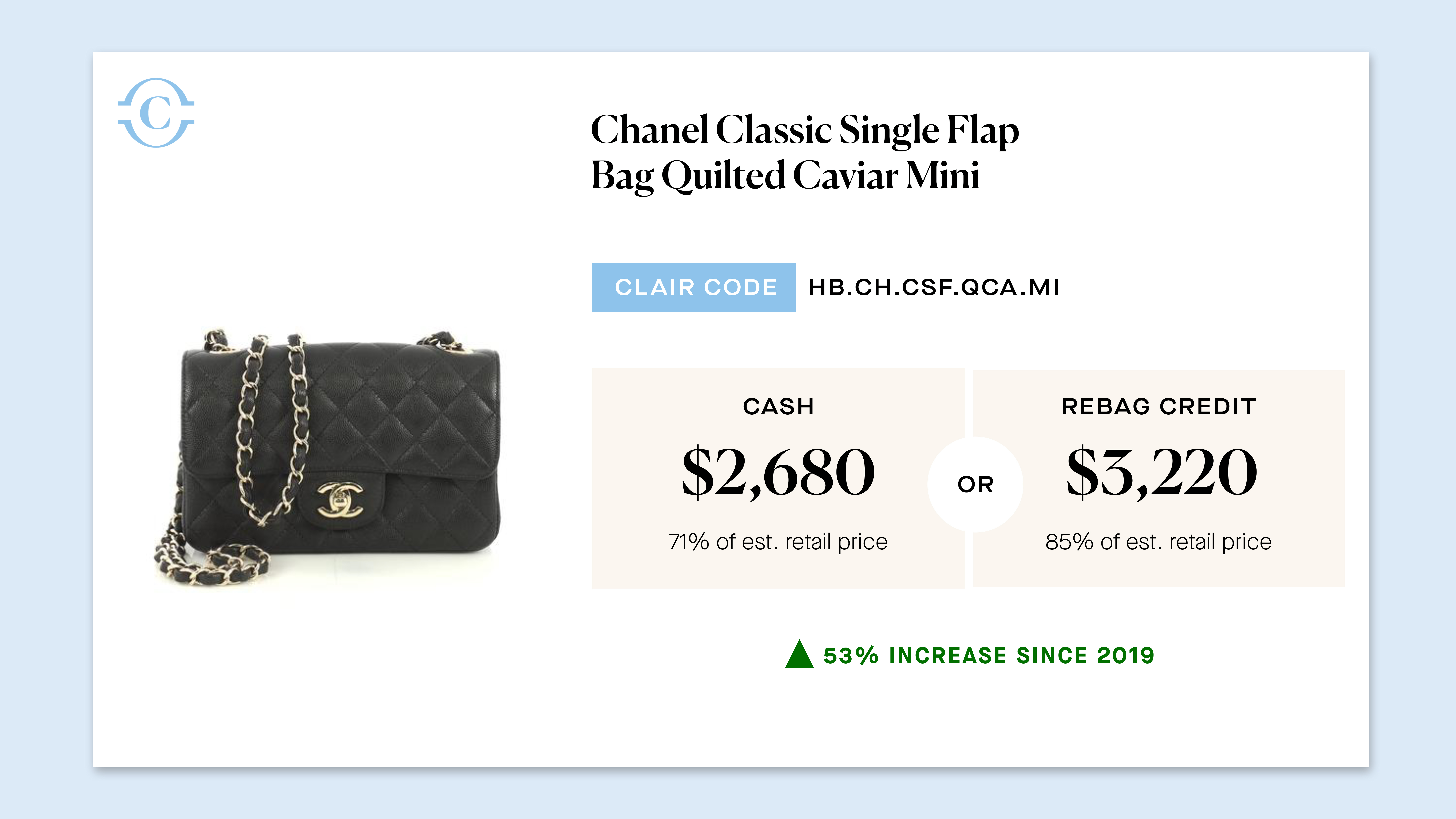 Chanel featured in Clair's Picks for Rebag.
