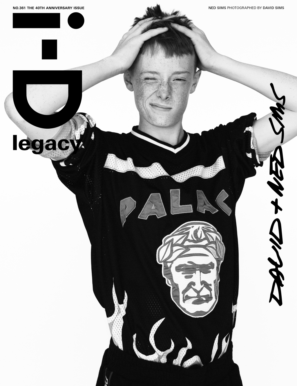Ned Sims wearing Palace photographed by his father ​David Sims​ for the i-D magazine 40th anniversary issue.