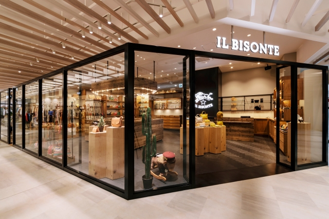 The view of an Il Bisonte store in Japan.