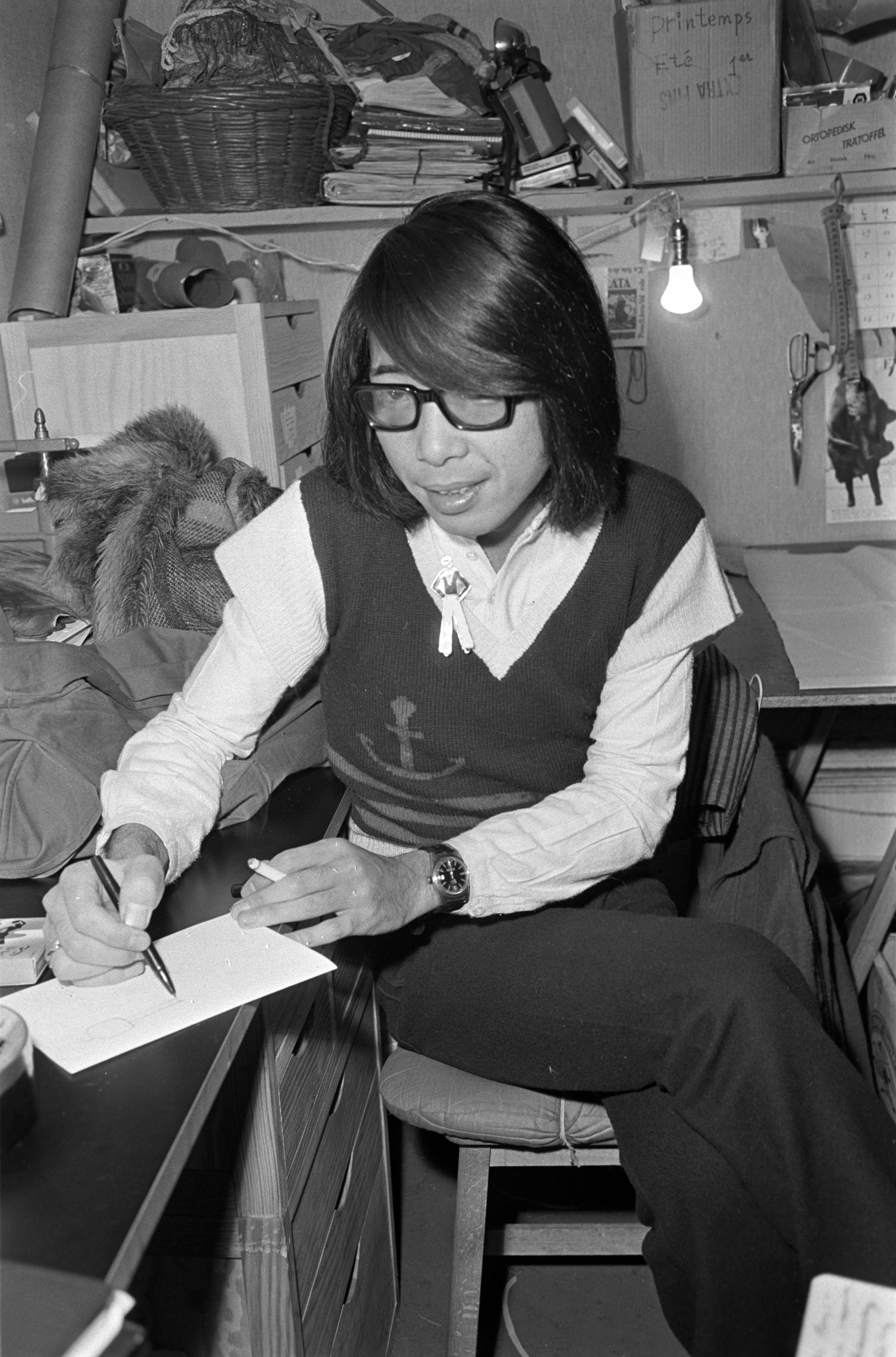 Kenzo Takada in the his atelier, 1971.