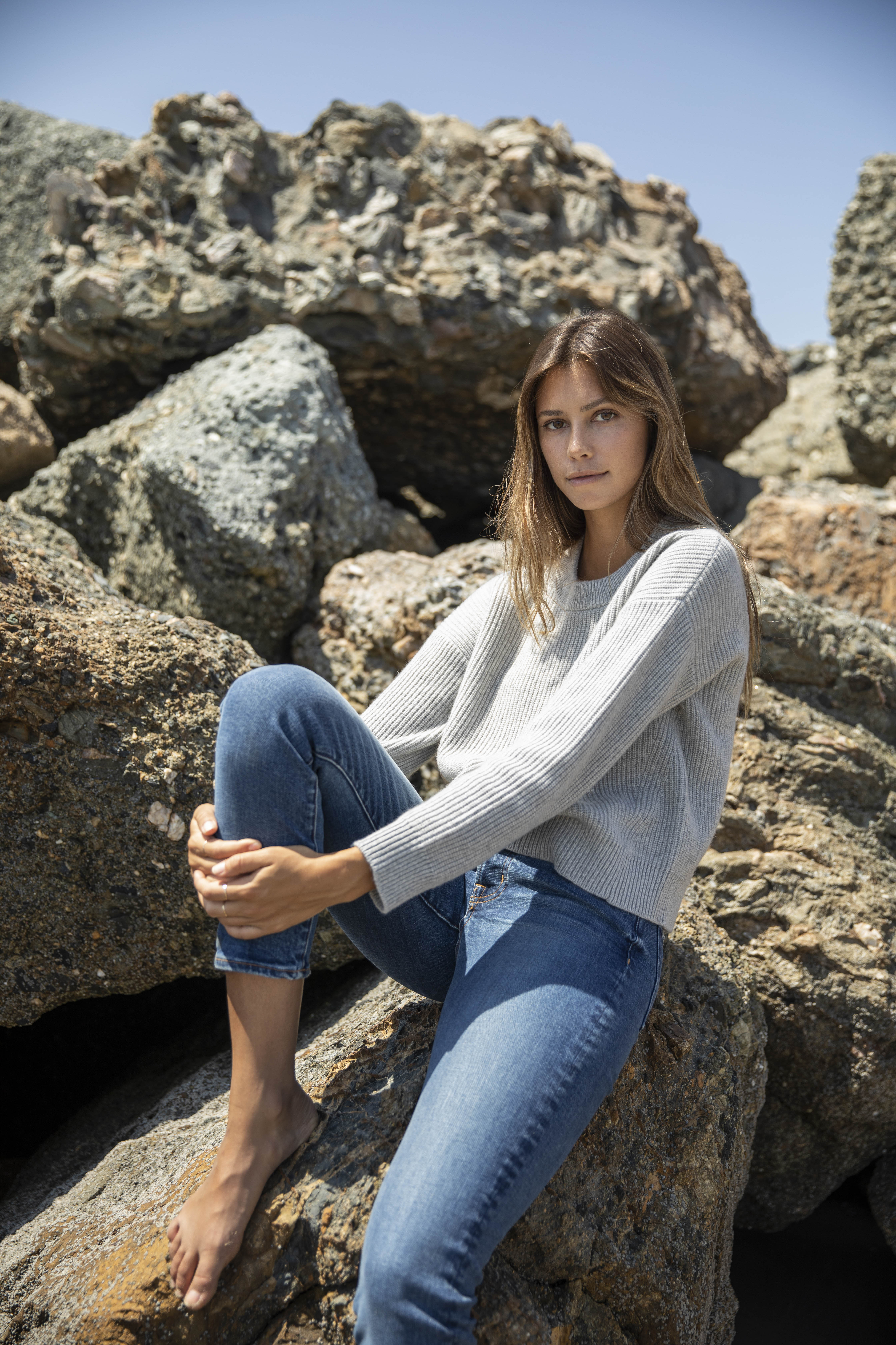 Outerknown's new women's biodegradable stretch denim.