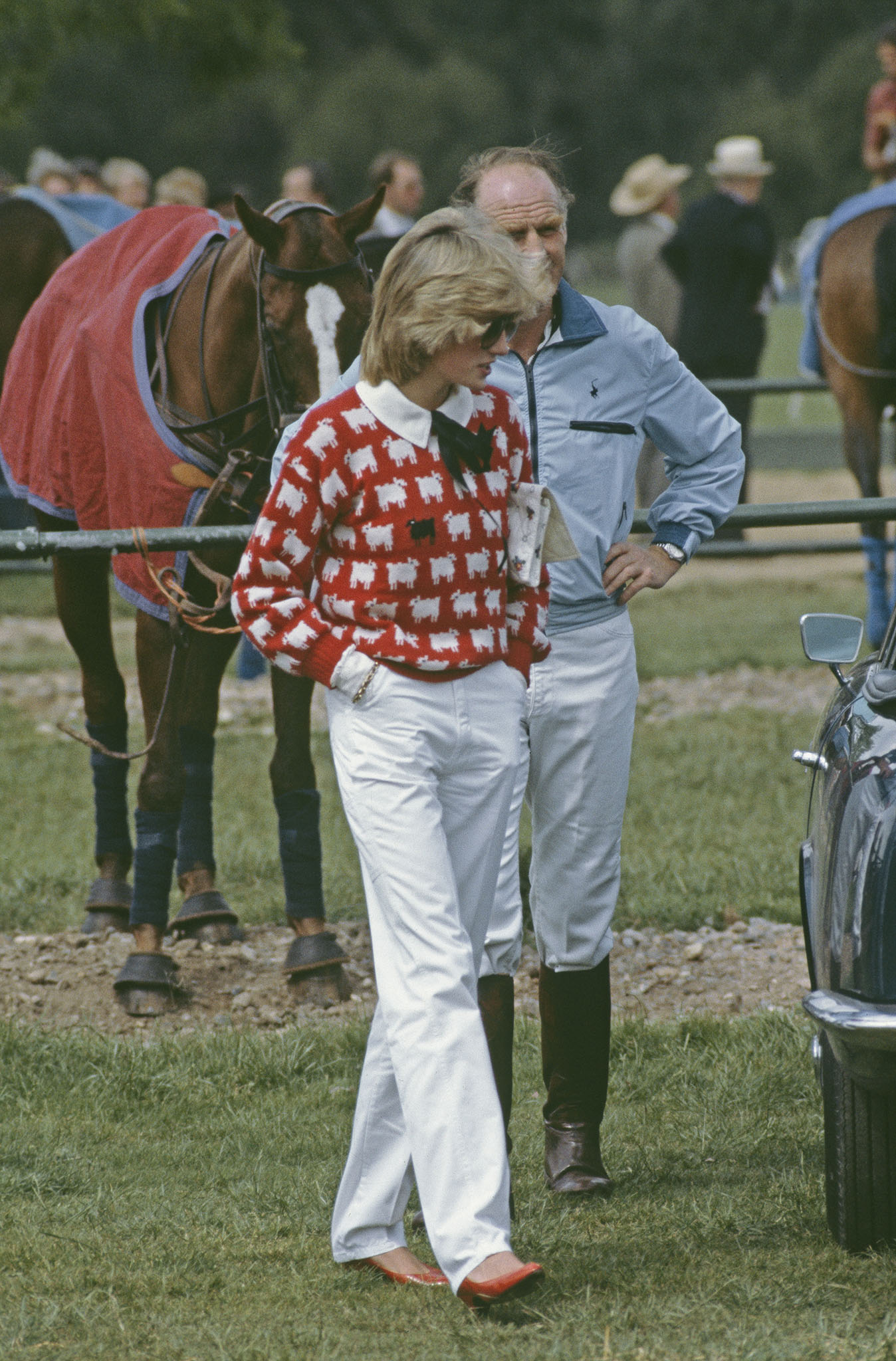 Diana wearing a Muir and Osborne 'black sheep' sweater.  Princess Diana was the inspiration for the collection, and Rowing Blazers recreated this sweater.