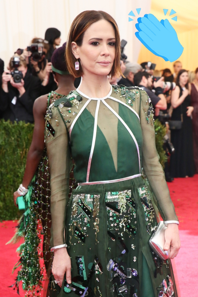 """Sarah Paulson in Prada attends the Metropolitan Museum of Art's 2014 Costume Institute Gala featuring the opening of the exhibit """"Charles James: Beyond Fashion."""""""