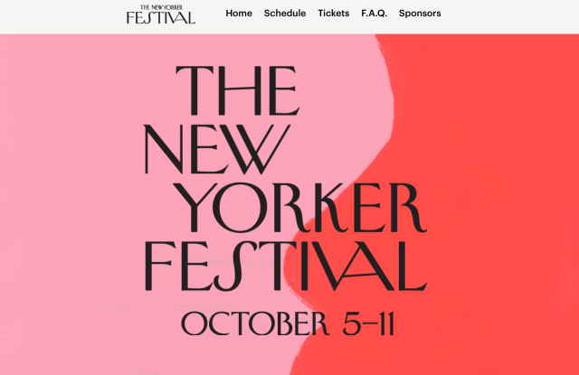 The New Yorker Festival homepage.