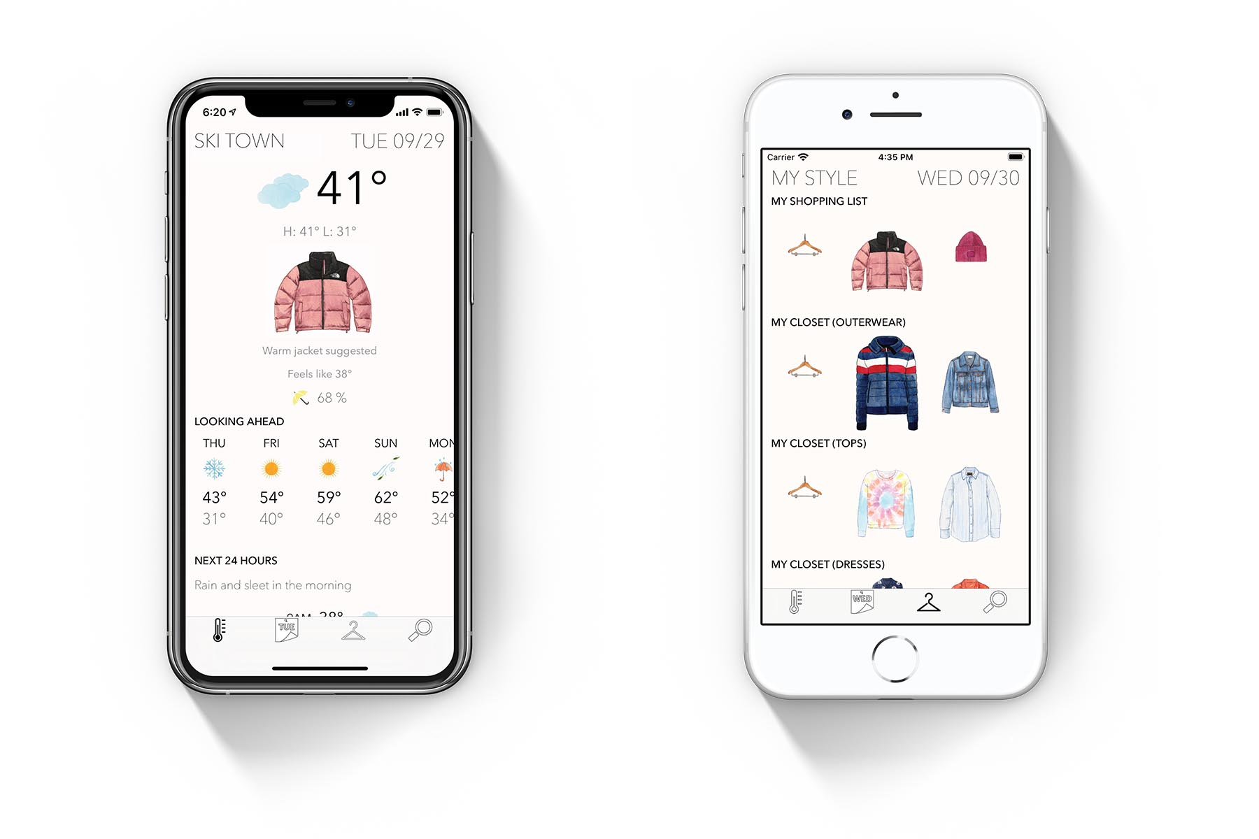 Inside the Latitude fashion weather app.