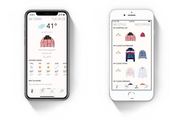 Inside the Latitude fashion weather app.