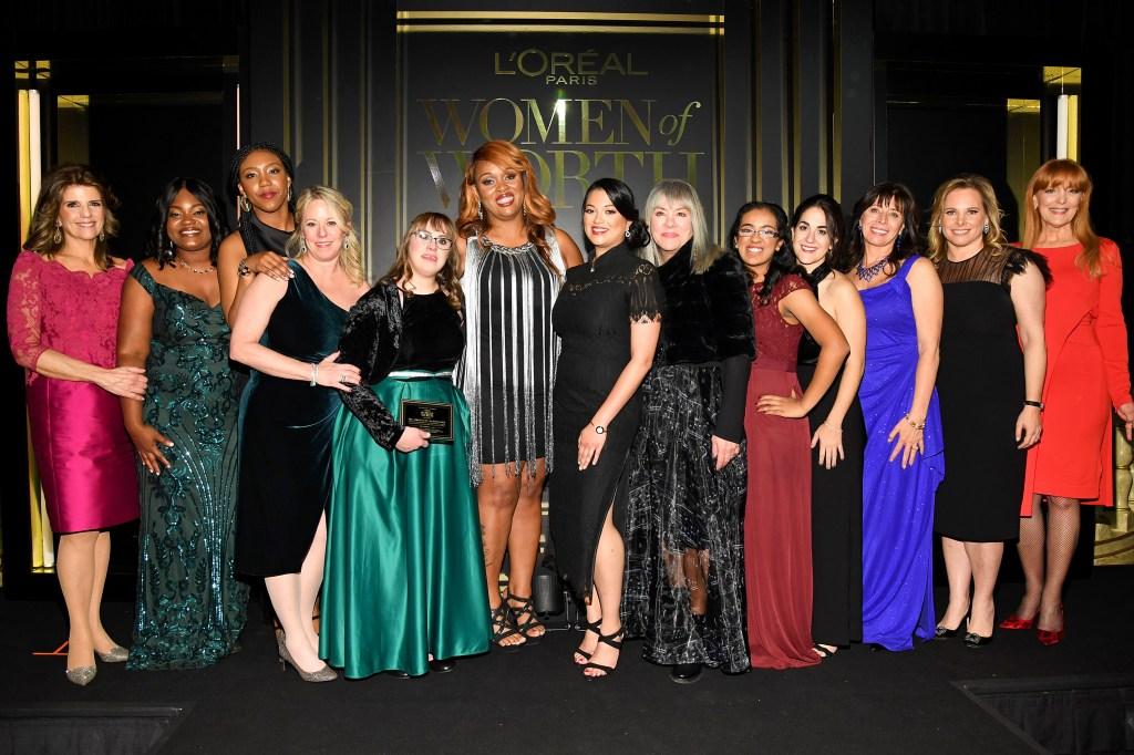 NEW YORK, NEW YORK - DECEMBER 04: (L-R) Karen T. Fondu, Crystal Chatman, Shanté Elliott, Sally Berenzweig, Brittany Sciavone, Ni'Cola Mitchell, Hetal Jani, Judy Winter, Shreyaa Venkat, Samantha Gerson, Raja B. Marhaba, Ali Goldstein, and Gracie Cavnar attend the 14th Annual L'Oréal Paris Women Of Worth Awards at The Pierre on December 04, 2019 in New York City. (Photo by Kevin Mazur/Getty Images for L'Oréal )