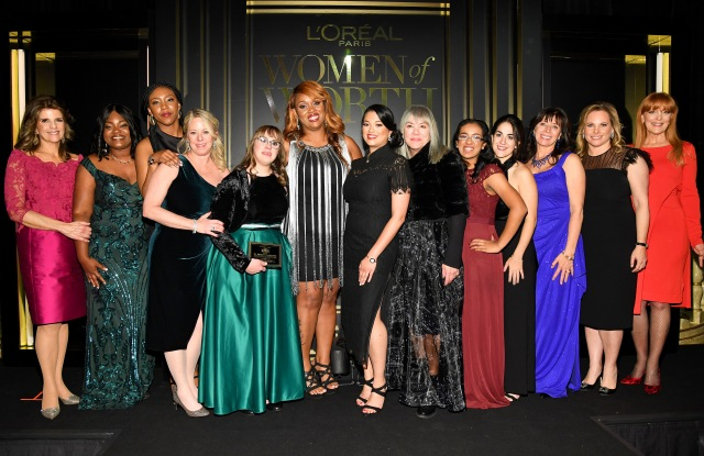 NEW YORK, NEW YORK - DECEMBER 04: (L-R) Karen T. Fondu, Crystal Chatman, Shanté Elliott, Sally Berenzweig, Brittany Sciavone, Ni'Cola Mitchell, Hetal Jani, Judy Winter, Shreyaa Venkat, Samantha Gerson, Raja B. Marhaba, Ali Goldstein, and Gracie Cavnar attend the 14th Annual L'Oréal Paris Women Of Worth Awards at The Pierre on December 04, 2019 in New York City. (Photo by Kevin Mazur/Getty Images for L'Oréal )