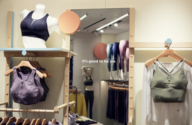 Maia Active is a happy, cheerful brand, its founders said. Encouraging slogans, like the one on this mirror, can be found in its stores and on the inner linings of its clothing.