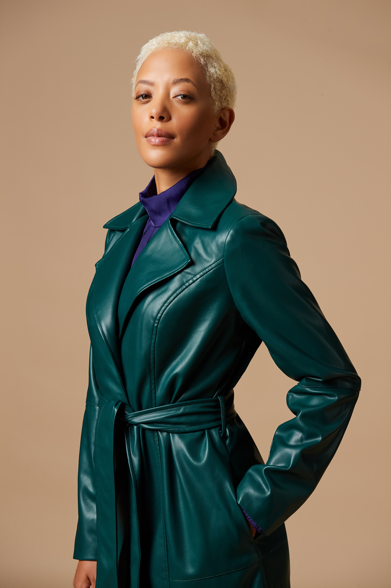 The J Jason Wu faux leather trench coat.
