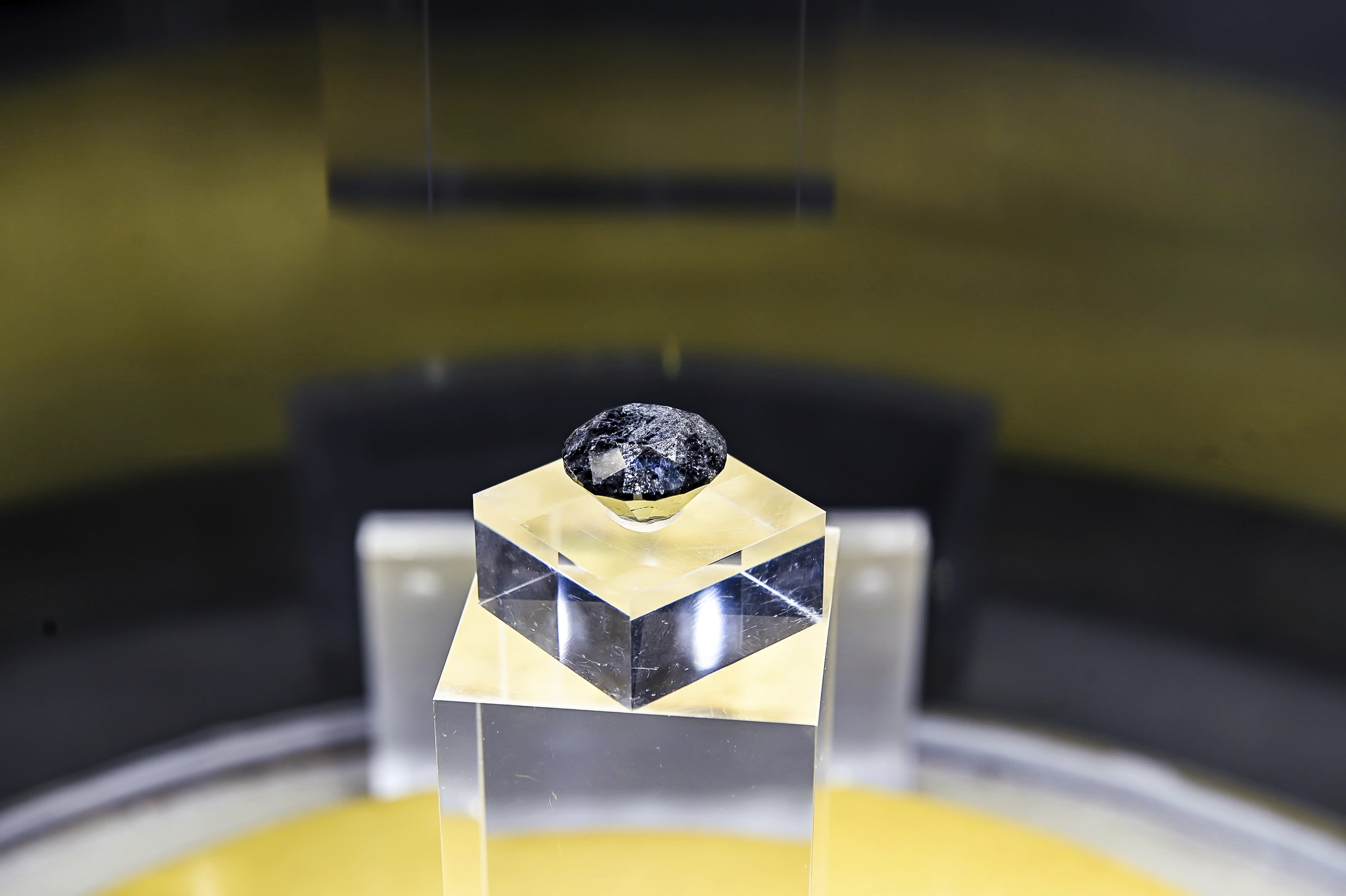 An 88-carat super black diamond, is on display at the 2020 China International Import Expo in Shanghai.