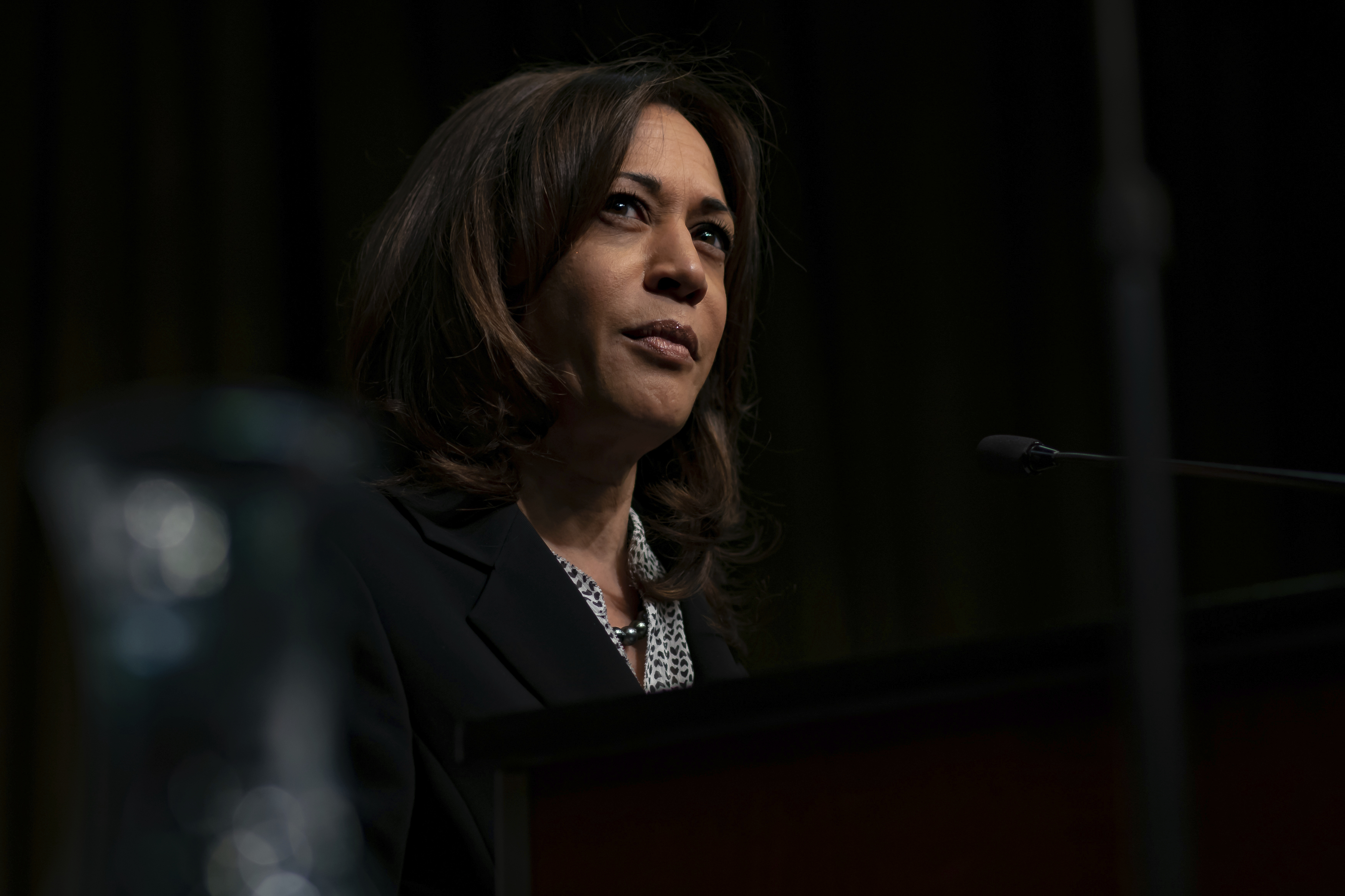 Democratic presidential candidate Kamala Harris speaks at the third day of the National Action Network's 26th national convention in New York City on April 5, 2019. The convention featured speeches and panel discussions around issues such as voting rights, criminal justice reform, immigration, health care, education, corporate responsibility, and economic equity. (Photo by Michael Nigro/Sipa USA)(Sipa via AP Images)