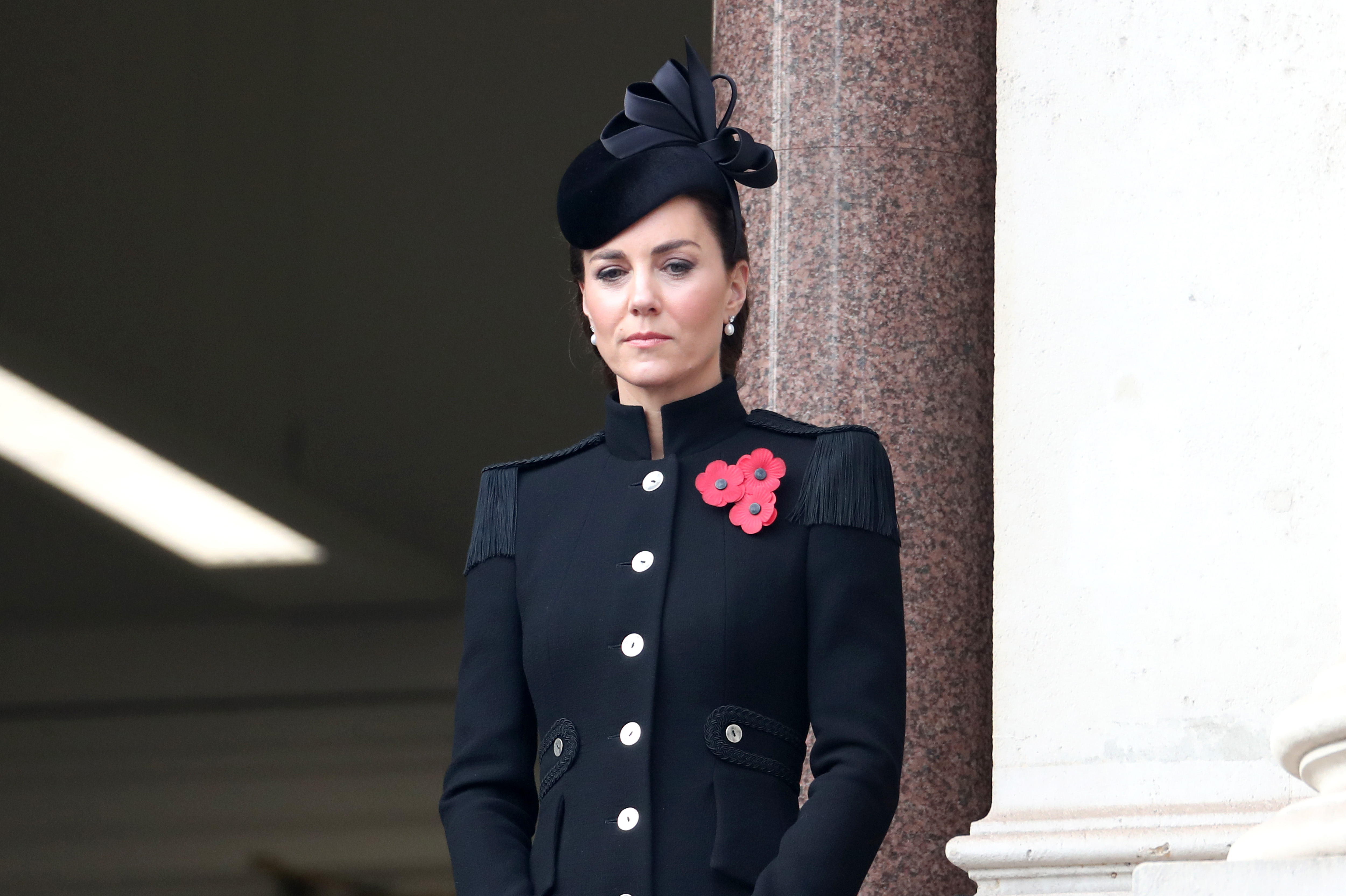 Remembrance Sunday. The Duchess of Cambridge stands on a balcony during the Remembrance Sunday service at the Cenotaph, in Whitehall, London. Picture date: Sunday November 8, 2020. See PA story MEMORIAL Remembrance. Photo credit should read: Chris Jackson/PA Wire URN:56522254 (Press Association via AP Images)