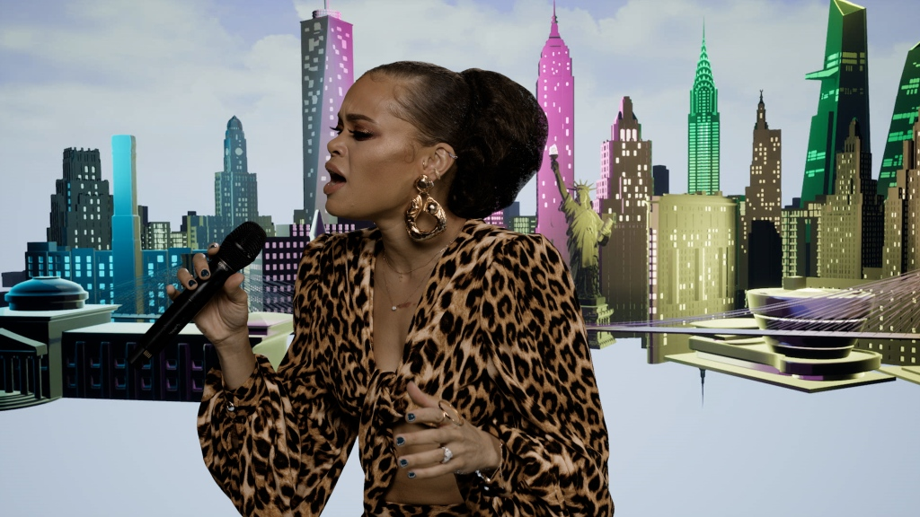 Andra Day performing during Bloomingdale's holiday special.