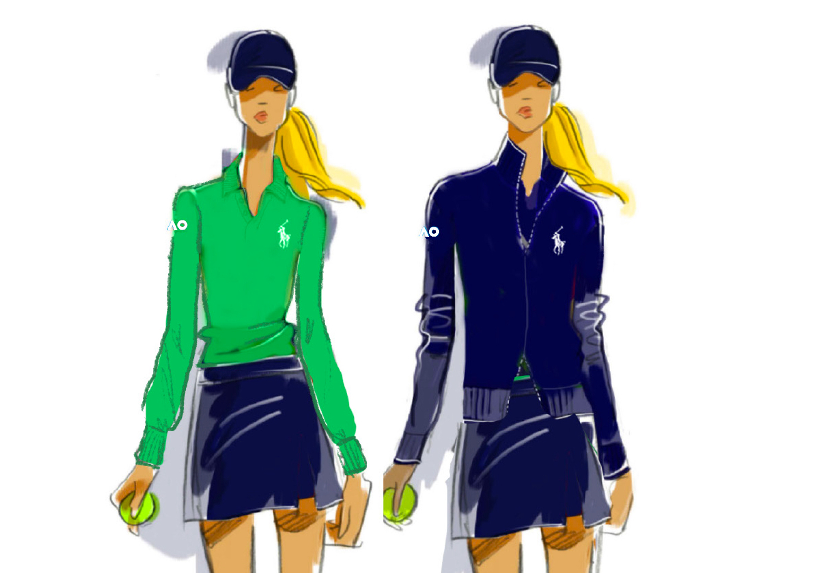 The new kit for on-court ball girls at Melbourne Park, part of Ralph Lauren's uniforms for the Australian Open tennis tournament, as its new official outfitter.