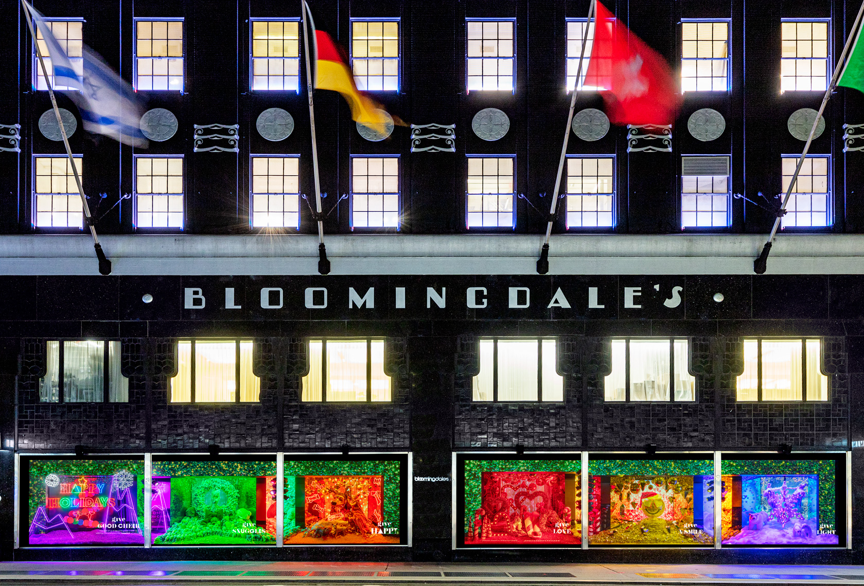 Bloomingdale's 59th Street flagship with its 2020 holiday windows.