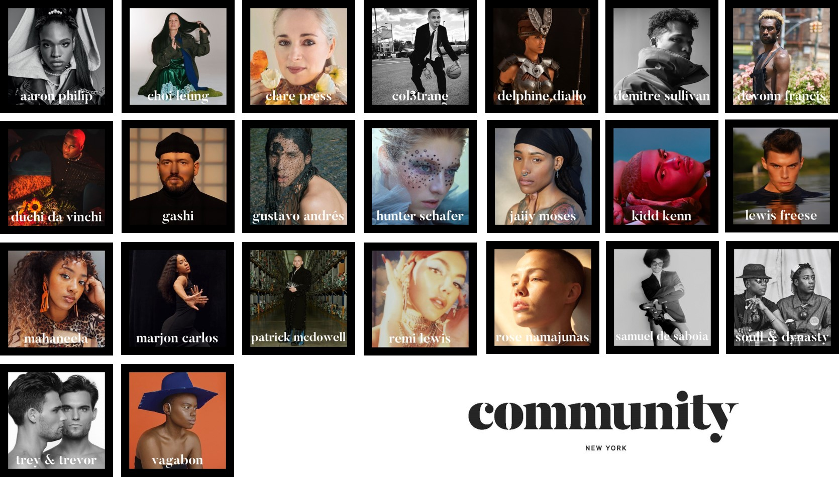 New talent agency Community's roster of clients.