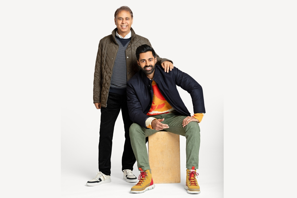 Hasan Minhaj and his father, Najme Minhaj, in the Cole Haan x Hasan Minhaj collaboration collection.