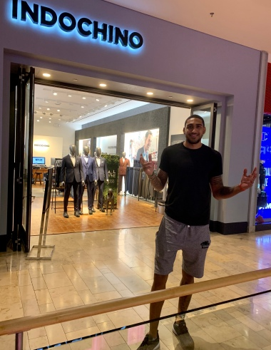 Obi Toppin at the Indochino Las Vegas showroom