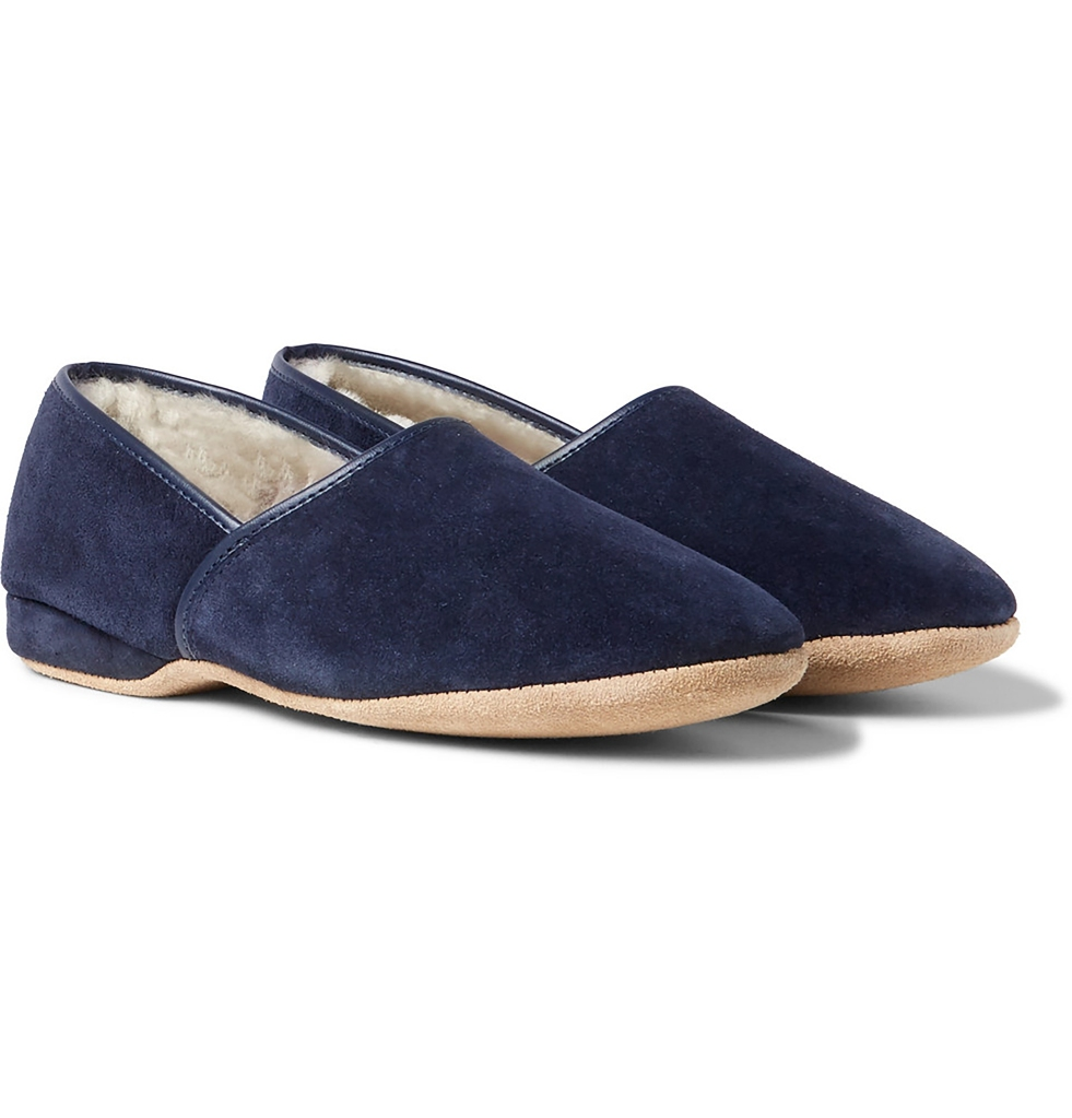 Christmas Gifts 2020 Derek Rose shearling-lined suede slippers