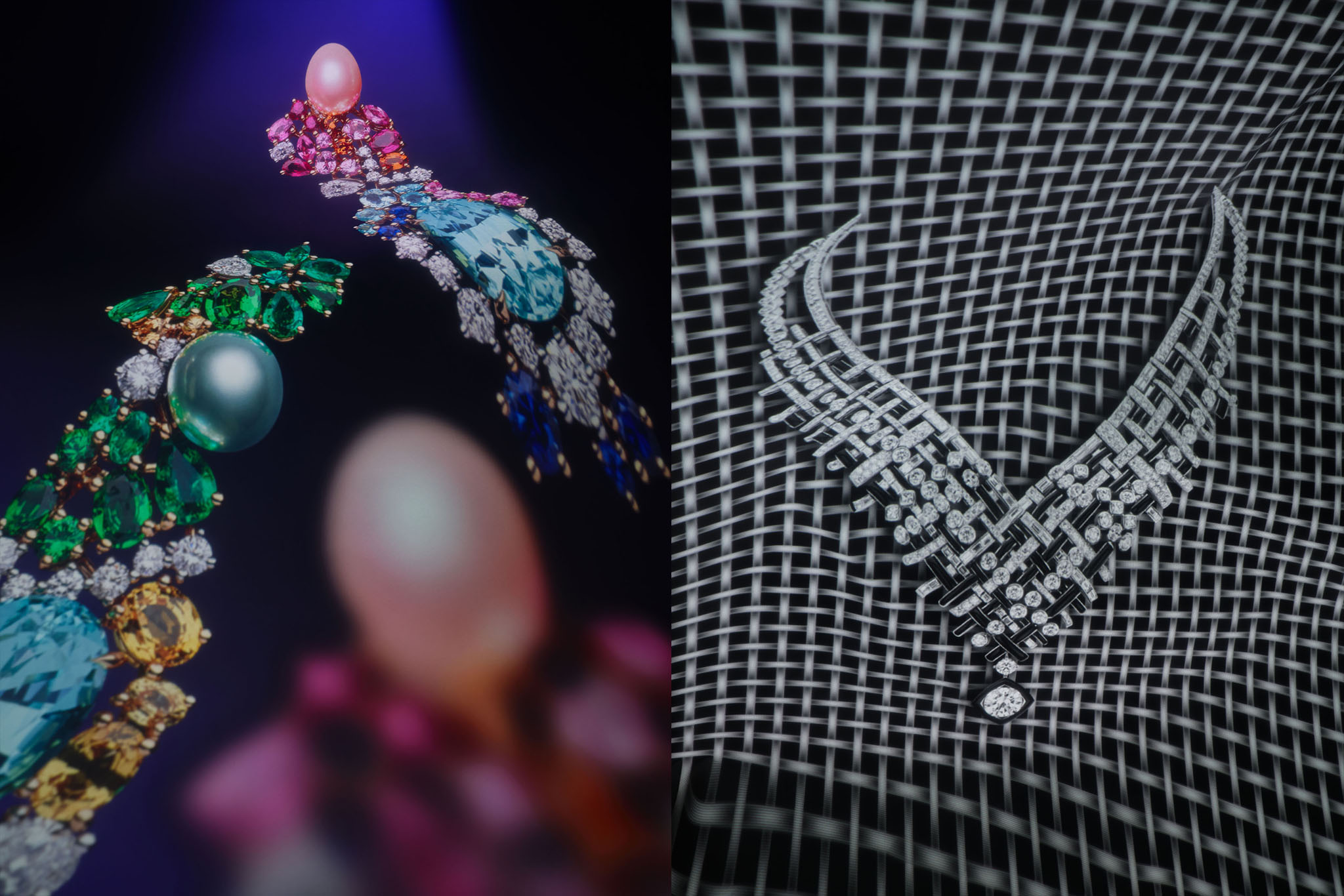L: Dior Fine JewelryÕs yellow gold, white gold, platinum, diamonds, blue tourmaline, pink cultured pearl, rubies, sapphires, emeralds, yellow and pink sapphires, spessartite garnets, Paraiba-type tourmalines and tsavorite garnets tie and bow earrings.R: Chanel High JewelryÕs tweed graphique necklace in white gold, set with onyx and diamonds.