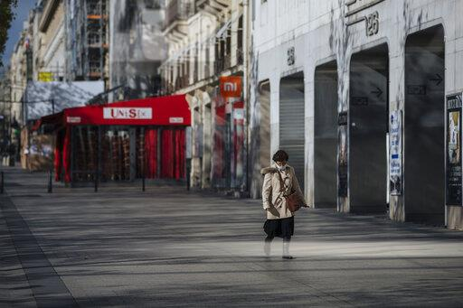 Non-essential stores remain shuttered in France.