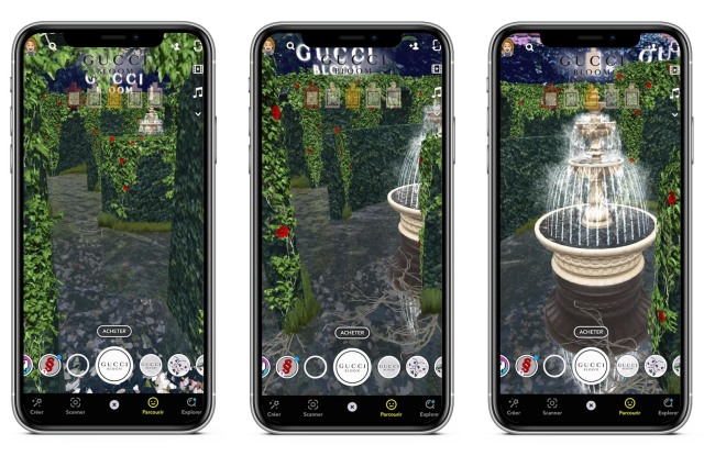 Gucci Beauty's first Portal AR Lens in Snapchat is a game touting its Bloom line of fragrances.