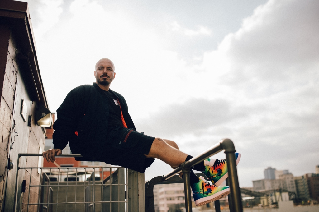 J Balvin in the Air Jordan I x J Balvin sneakers
