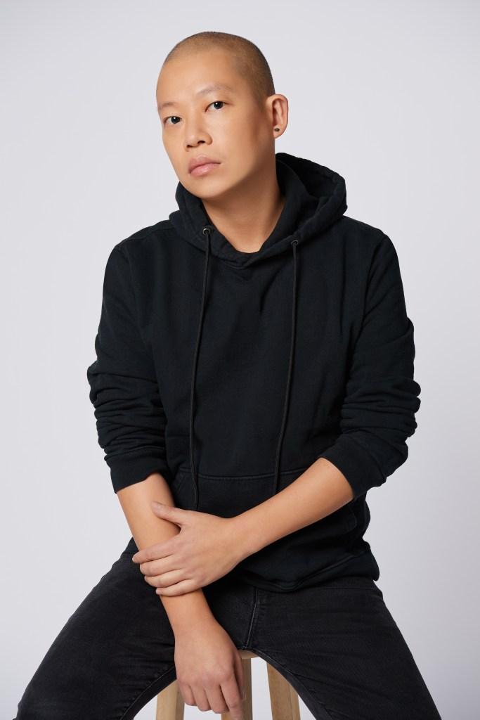 "Jason Wu in a hoodie, his ""uniform."""