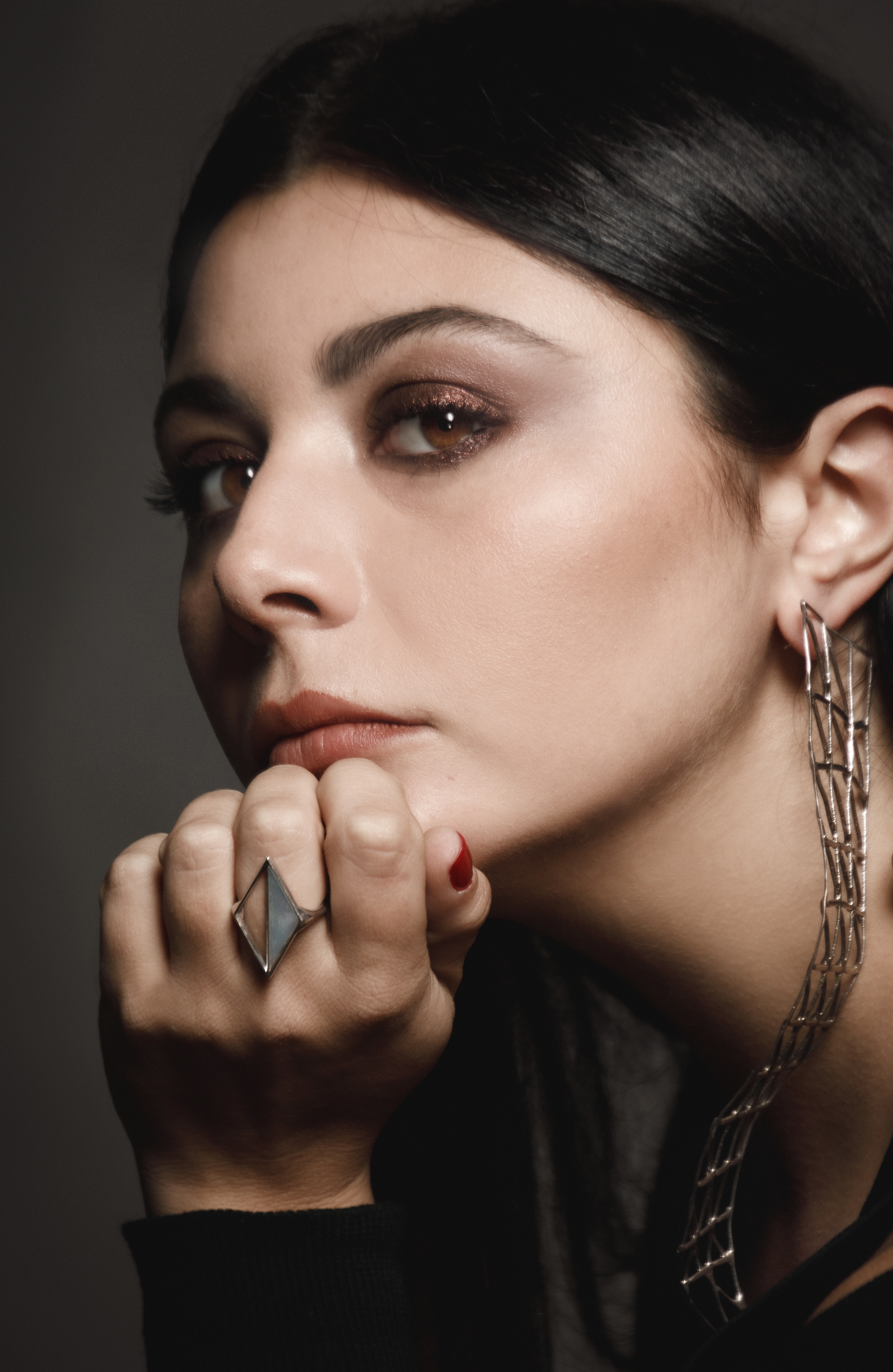 Lavinia Fuksas wearing pieces of her new jewelry line