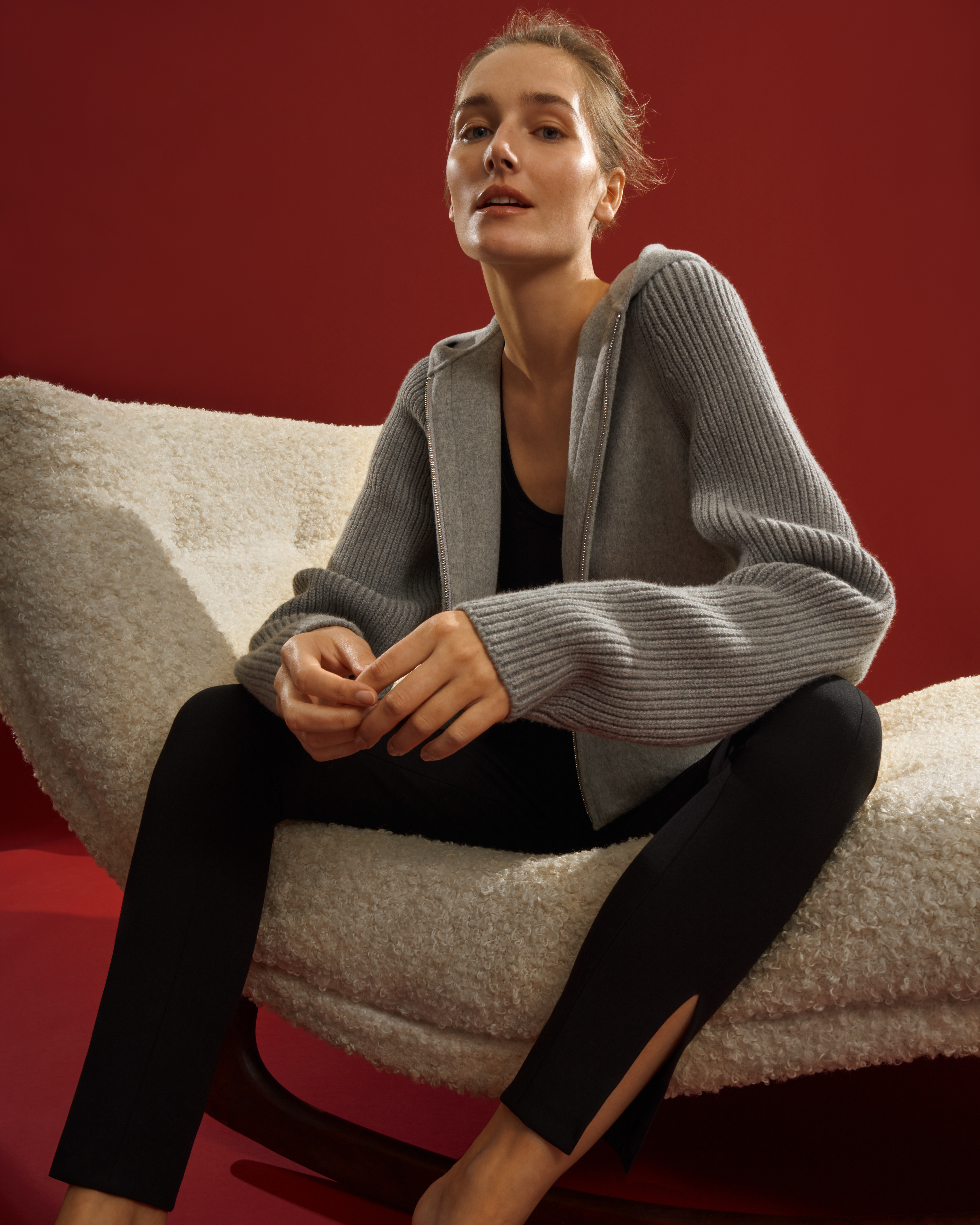 A look from Theory's Luxe Lounge capsule.