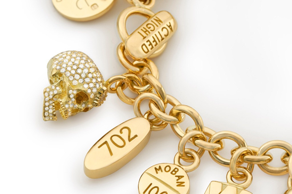 Damien Hirst limited-edition pill bracelet with diamond skull.