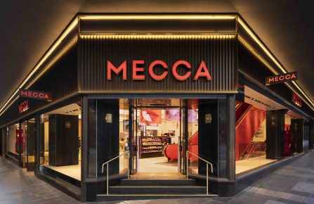 The front entrance to Mecca Brands' first Mecca flagship in Sydney, on the corner of George and Market Streets.