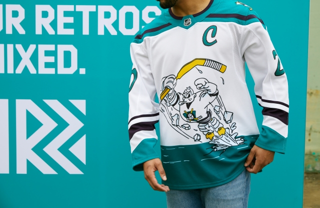 The retro-inspired jersey for the Anaheim Mighty Ducks.