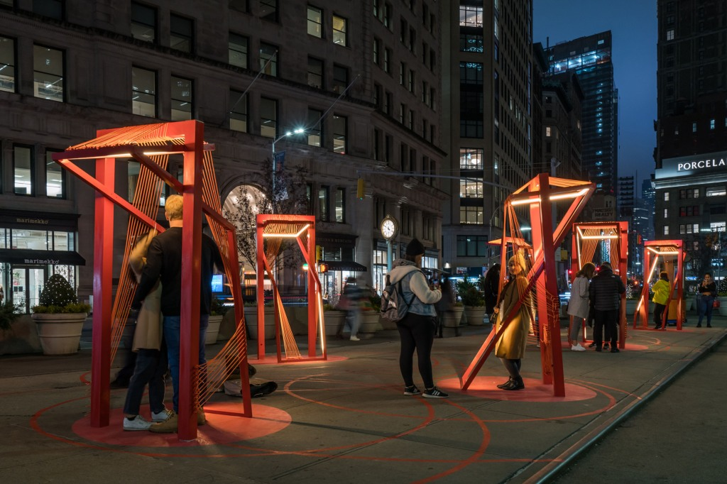 "The ""Points of Action"" installation is in the Flatiron Public Plaza."