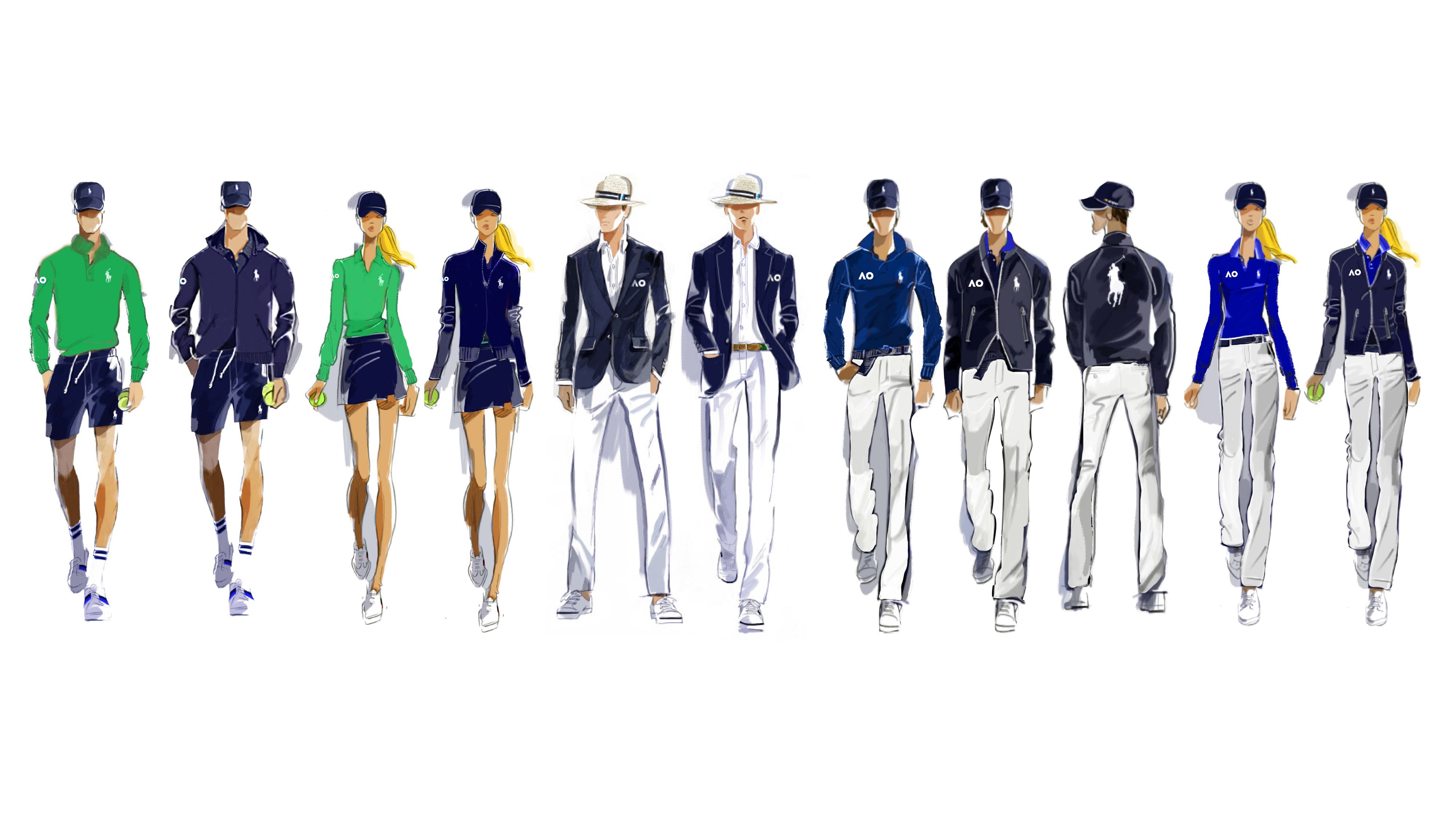 The new official uniforms of the Australian Open tennis tournament designed by Ralph Lauren.