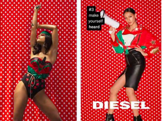 Haleigh Nickerson's image (left) compared to Terry Richardson's for a Diesel campaign.
