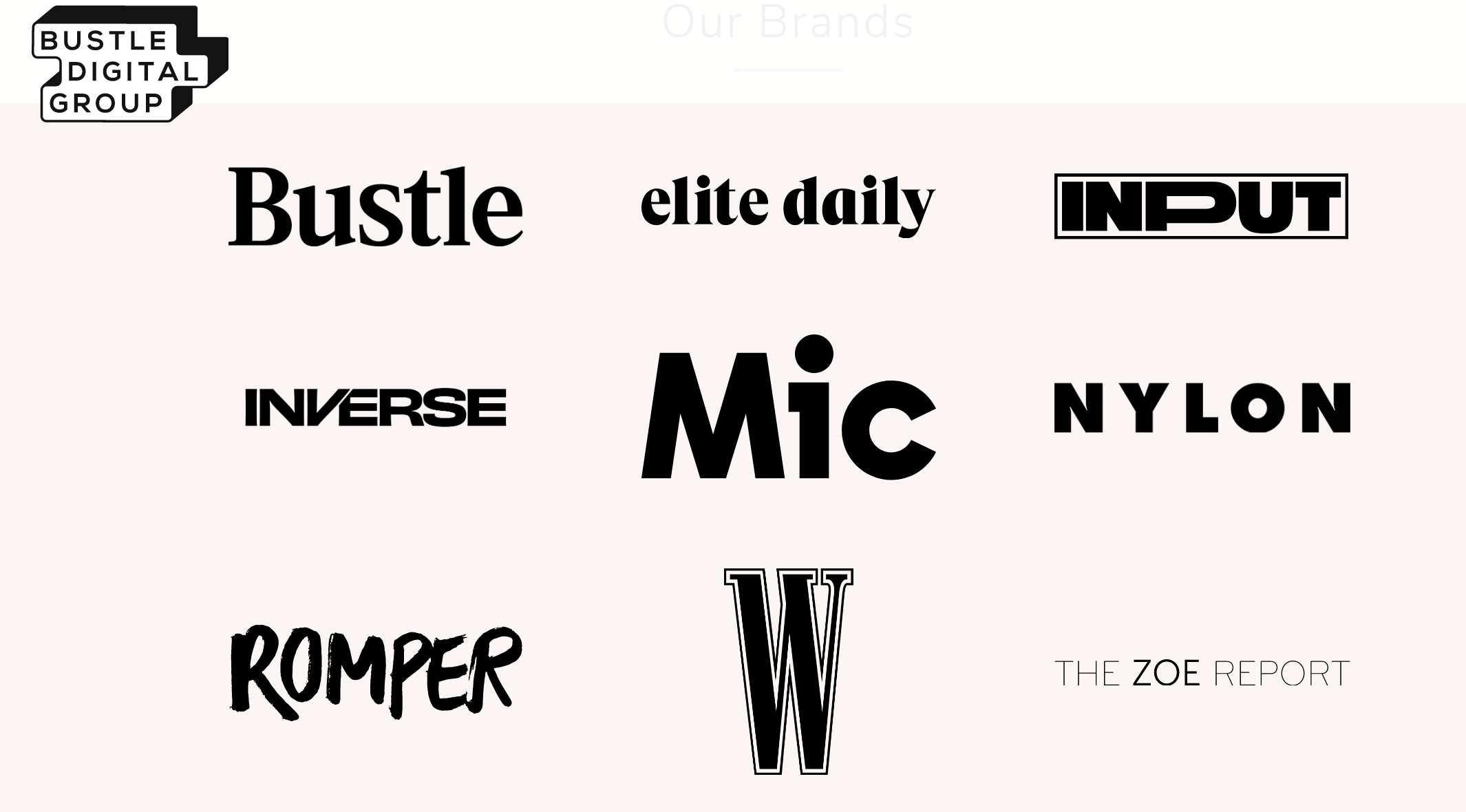 Bustle Digital Group's brands.