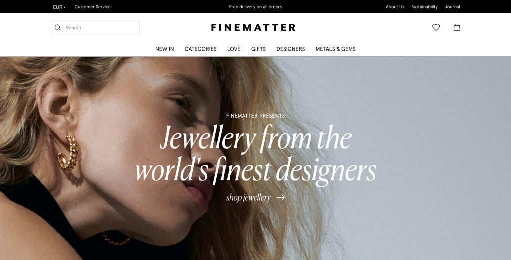 Finematter's new landing page.