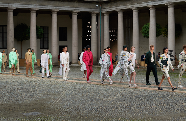 Hugo Boss' outdoor show in Milan, showing the brand's Spring/Summer 2021 collection.