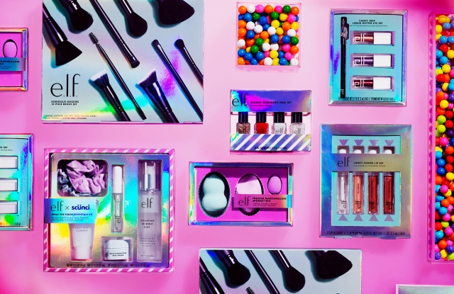 e.l.f. holiday makeup sets on a pink background