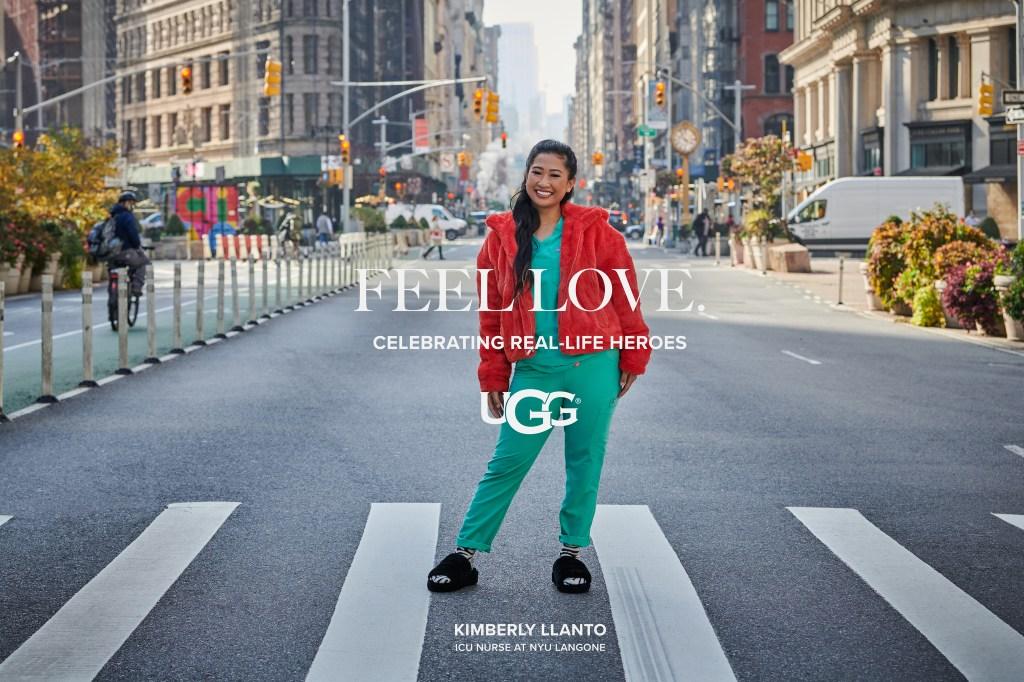 "Kimberly Llanto, an ICU nurse, in the Ugg ""Feel Love"" campaign."