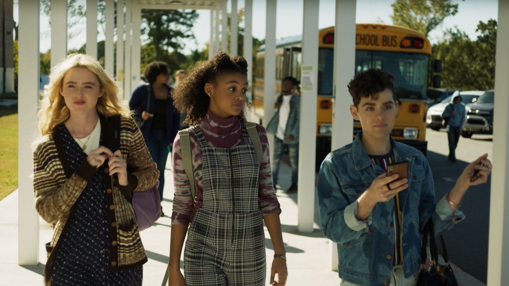 "(from left) Millie Kessler (Kathryn Newton), Nyla Chones (Celeste O'Connor) and Josh Detmer (Misha Osherovich) in ""Freaky,"" co-written and directed by Christopher Landon."