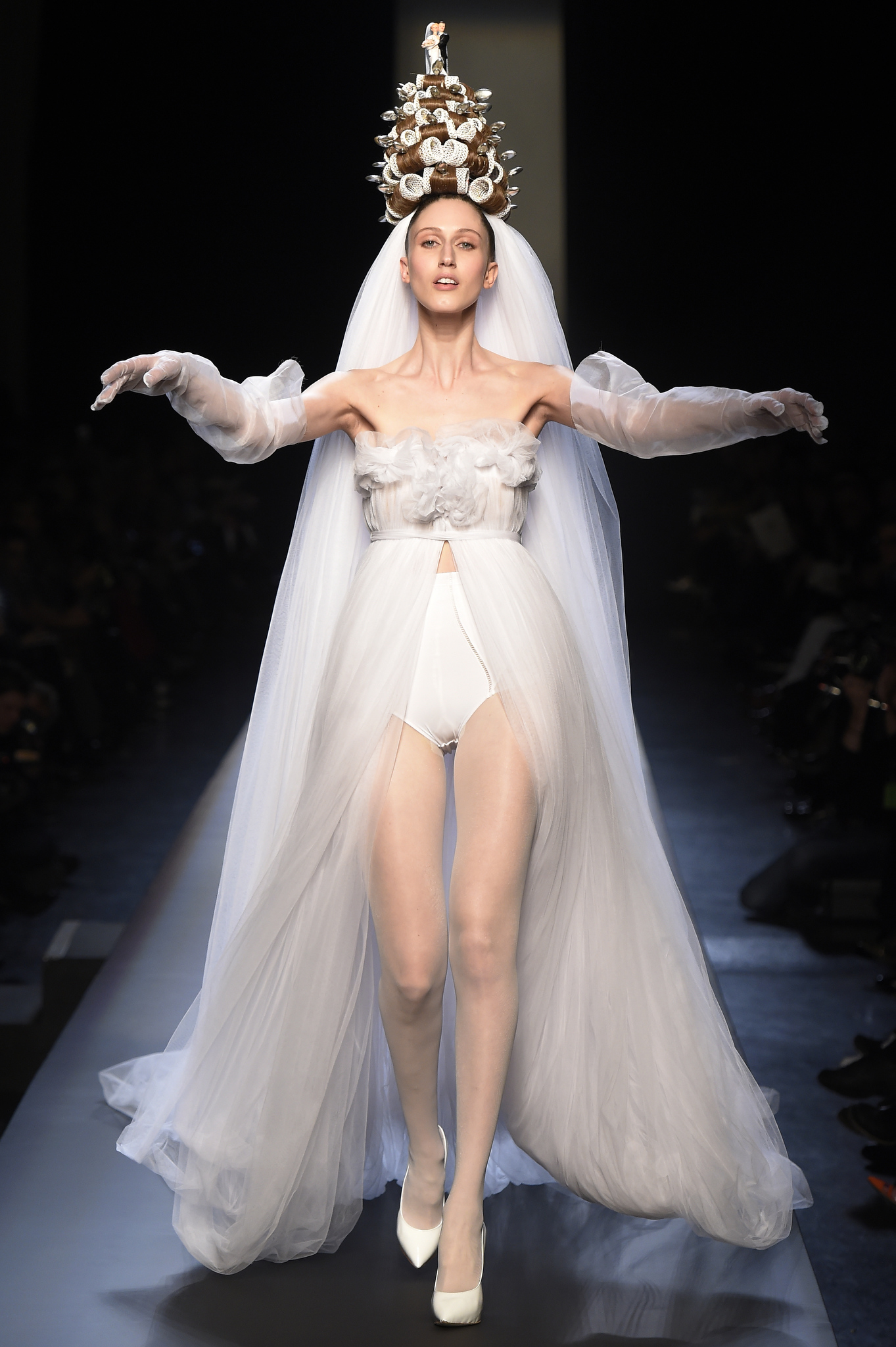 A model on the runway at Jean Paul Gaultier's spring 2015 haute couture show.