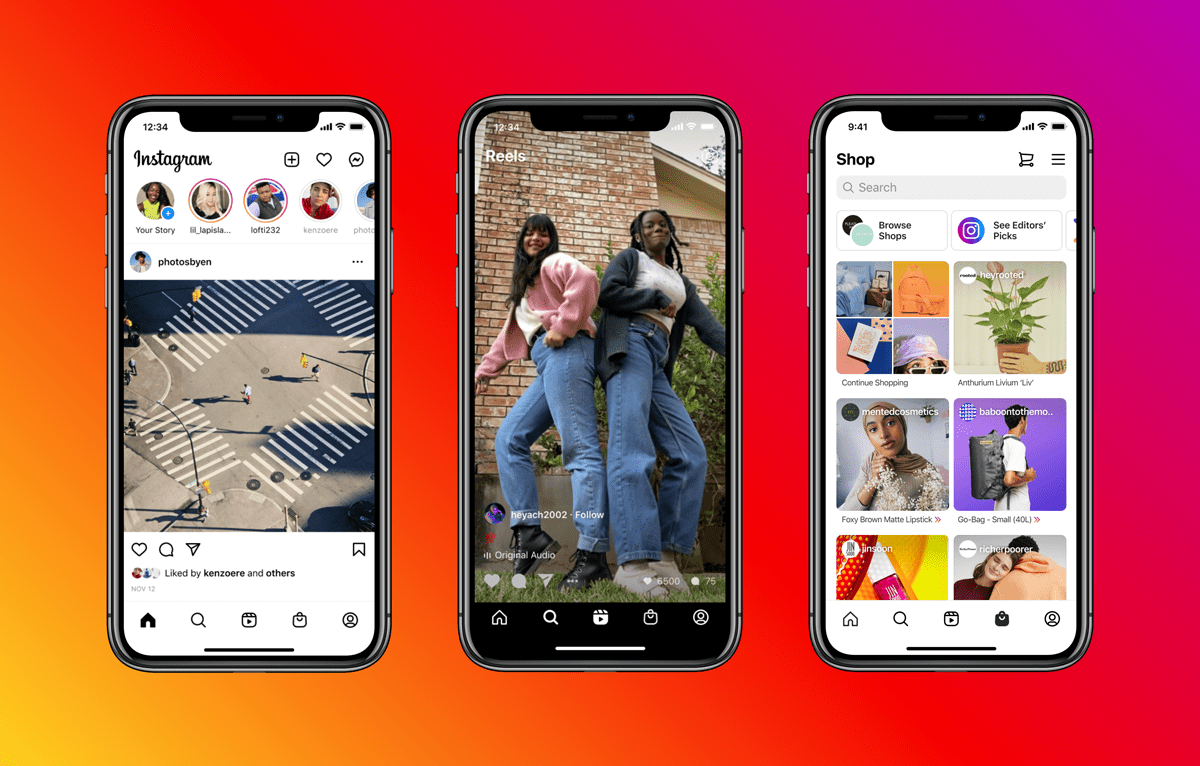Instagram announces new tabs for Reels and shopping.