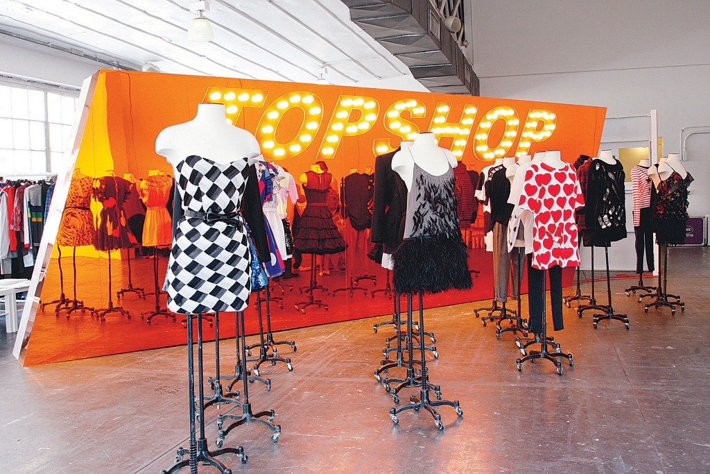 The interior of the Topshop store in New York, 2008.