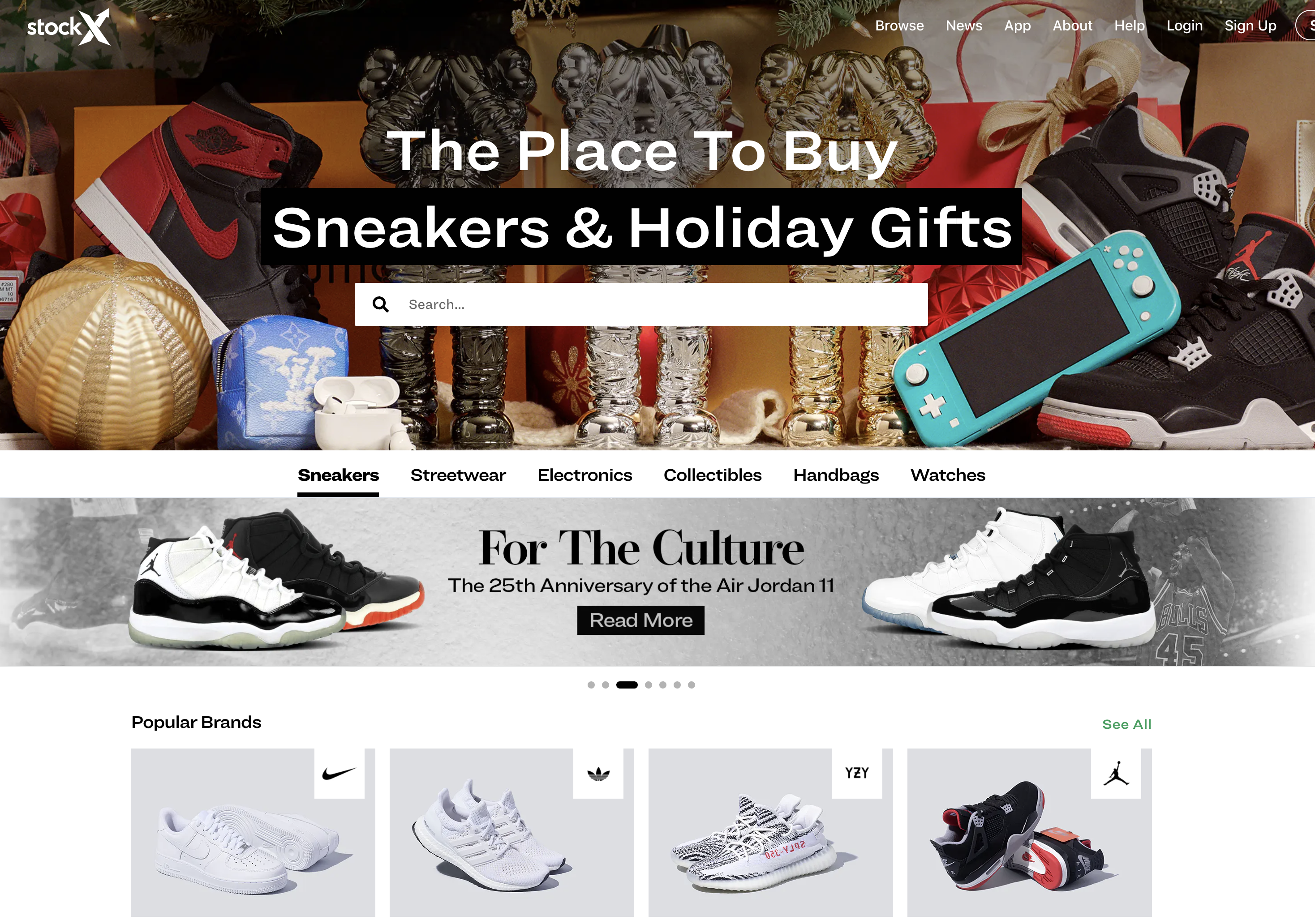 Landing page of StockX
